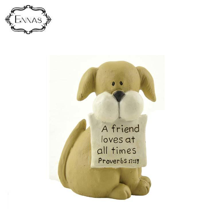 Striped Dog Holding Letters Animal Sculpture Crafts Gift