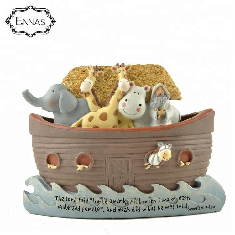 Factory custom made home decoration cute resin polyresin animals and boat statue