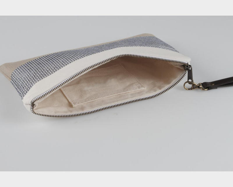 GF-JT2006 Canvas summer Clutch Bag with wrist leather strap for women