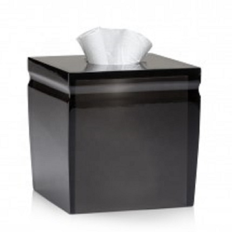 Luxury Semi Black Clear Polished Resin Tissue Box Cover for Home