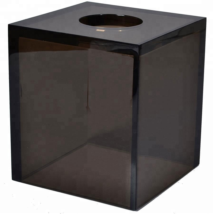 Glossy Black 100% Colored Resin Hotel Bathroom Accessories Set Tissue Box Cover
