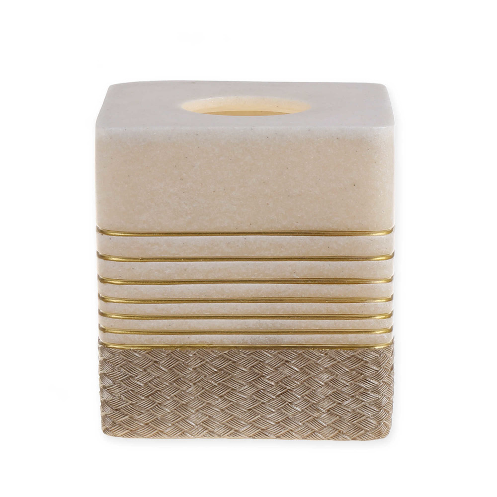 Elegant Beige Sandstone Resin Tissue Box with Gold Lines