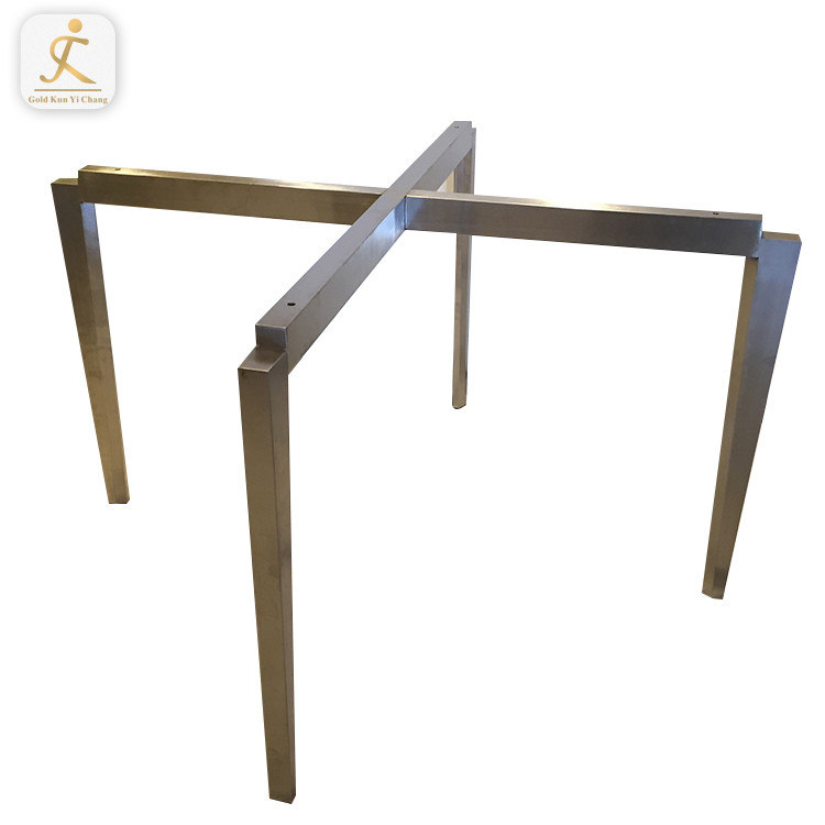 customized design hairline stainless steel pedestal table base X Shape Cross Pedestal Stainless Steel Dining Table Base