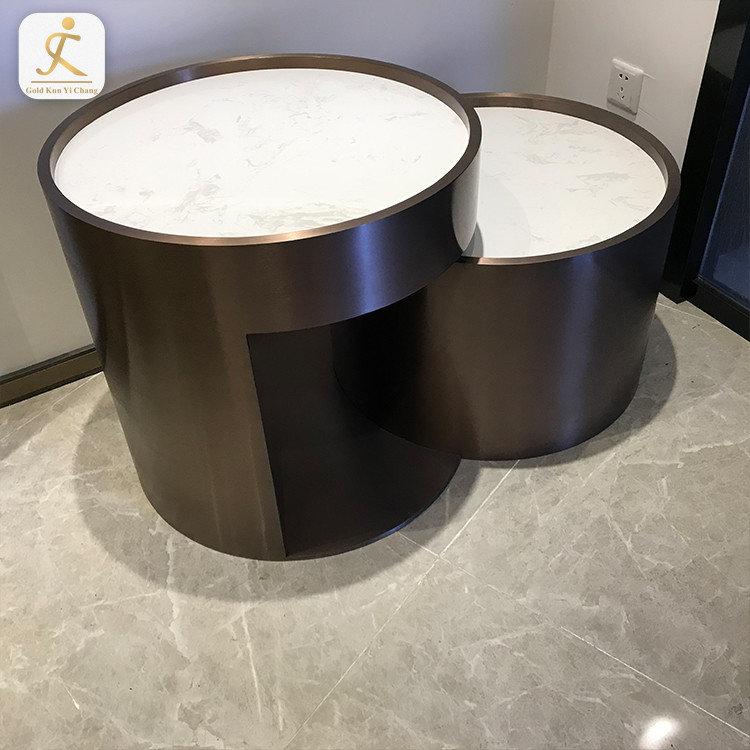 living room indoor brass color stainless steel coffee table base stone top metal inox round coffee table bases