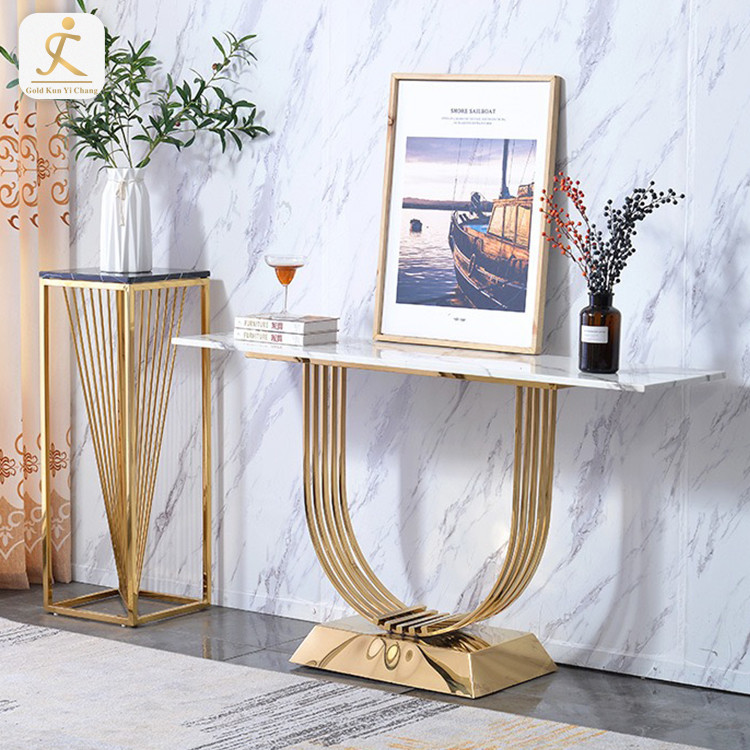 luxury style decorative marble top stainless steel frame console table luxury stainless steel golden base console table