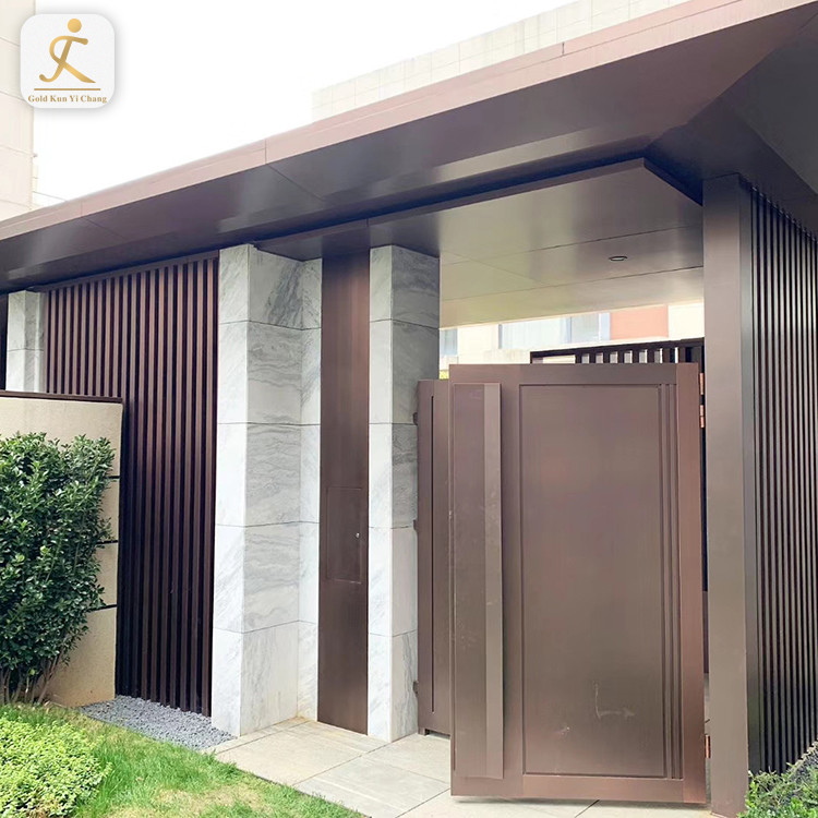 Resort Hotel Stainless Steel Front Entry Door Metal Customized Manufacturer Simple Modern Design Exterior Gate Door