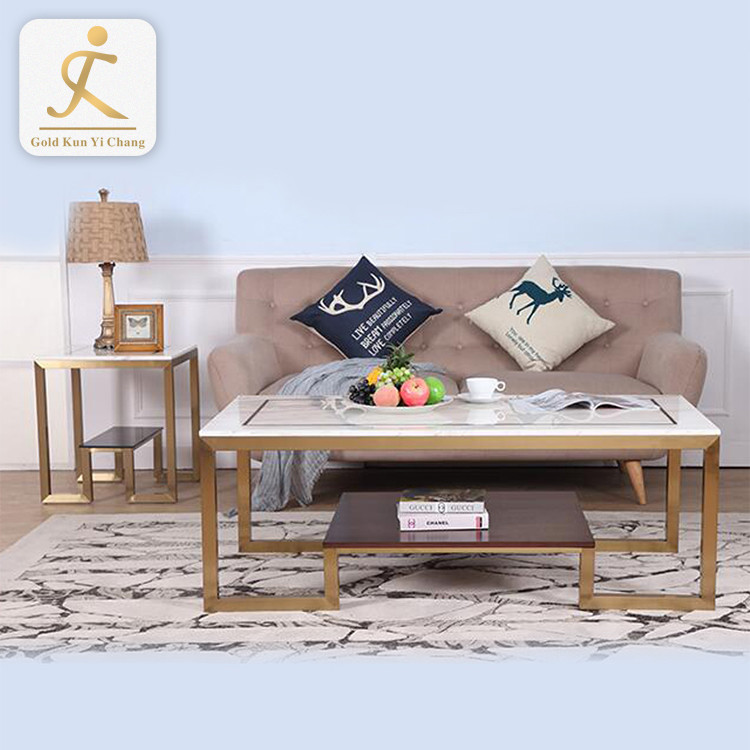 modern living room luxury design square coffee table legs t shaped mirrored tea table metal leg
