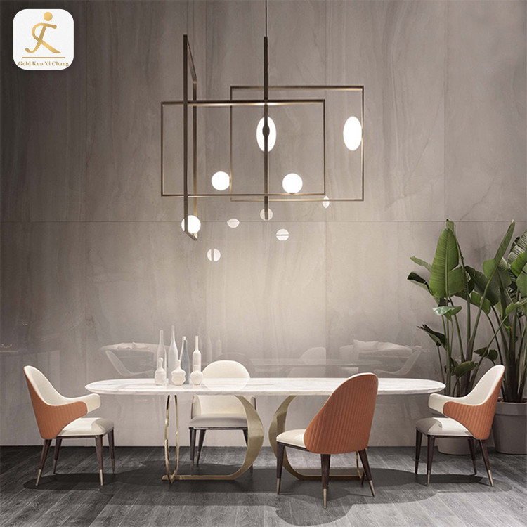 Italian rectangular white marble dining table stainless steel legs 4 6 8 seater light luxury dining table