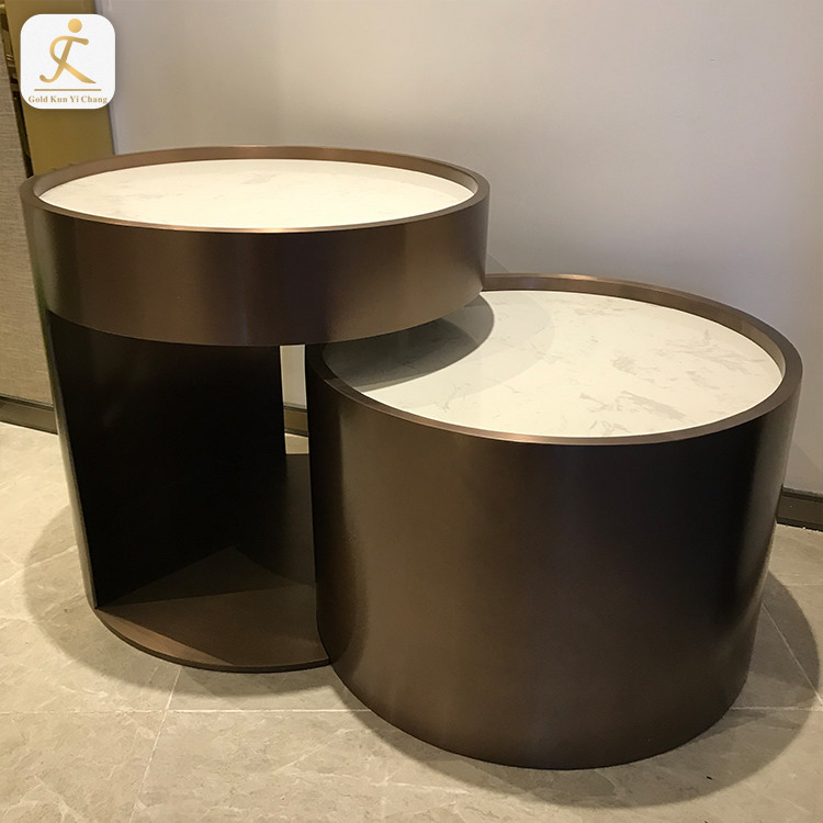 Customized Simple Modern Design Brushed Chrome Metal Teapoy Tea Table Legs Stainless Steel Gold Round Coffee Center Table Base