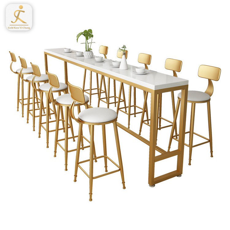 high end customized gold cocktail long bar table golden stainless steel marble top high counter bar table