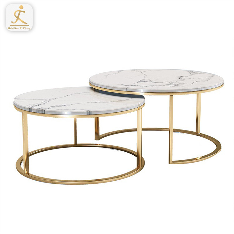 Customized Simple design round furniture decor metal table frame stainless steel table base with marble coffee table legs