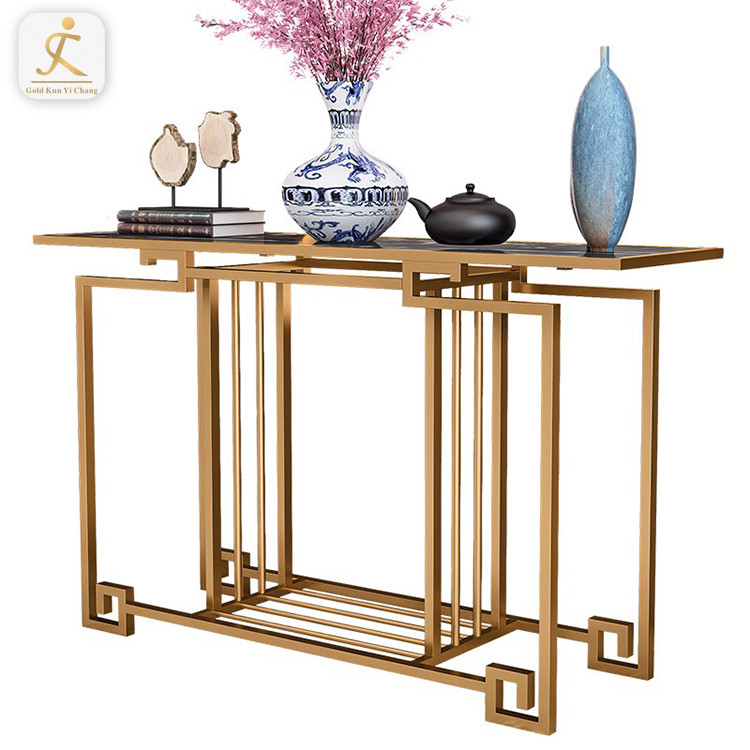 high end luxury customized hallway console table base for marble top brushed stainless steel rectangular table bases
