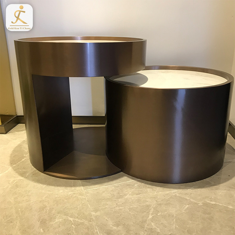 high bearing stainless steel double round coffee tea table metal base furniture legs for sale marble top coffee table base