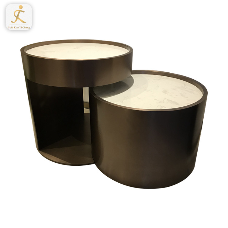 High grade hairline brush metal luxury golden end side table frame round big marble stainless steel coffee table base