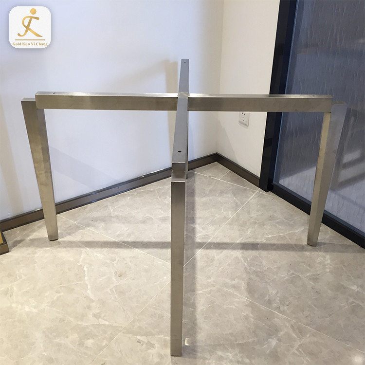 high end custom home furniture leg type cross base metal table legs for glass top stainless steel metal dining table legs