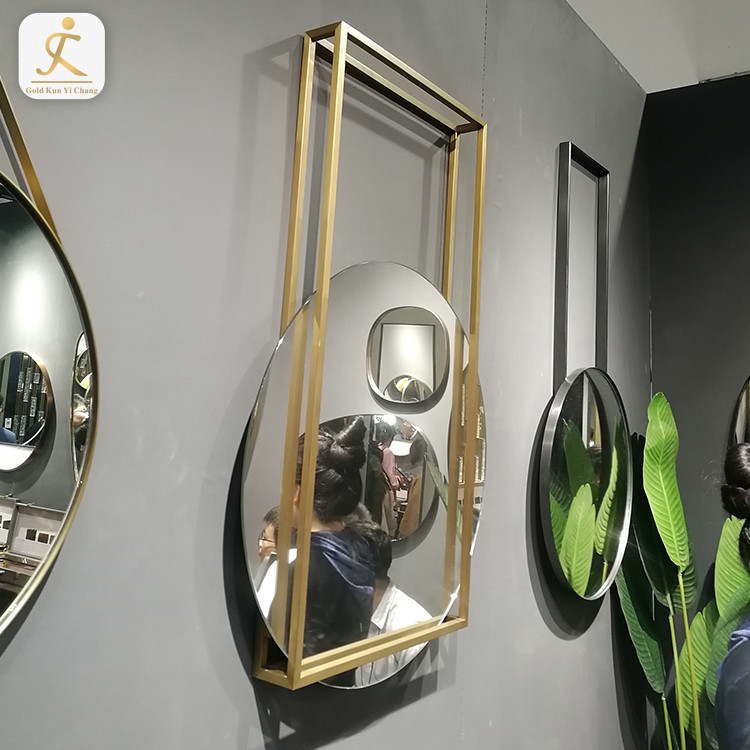 laser metal weld custom shape mirror stainless steel frame large stainless steel wall mounted round square mirror frame