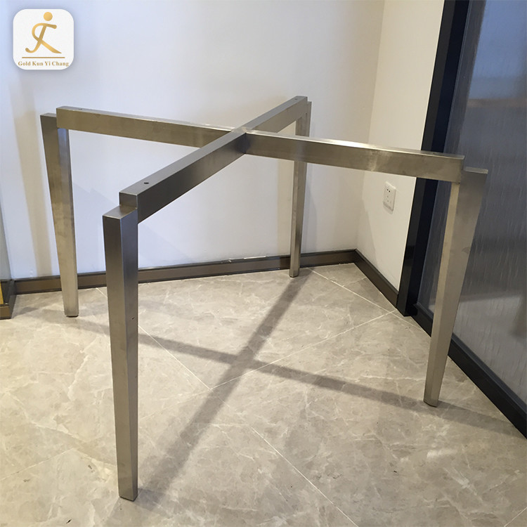 custom cross design dining table bases for glass top silver hairline finished laser cut stainless steel dining table legs