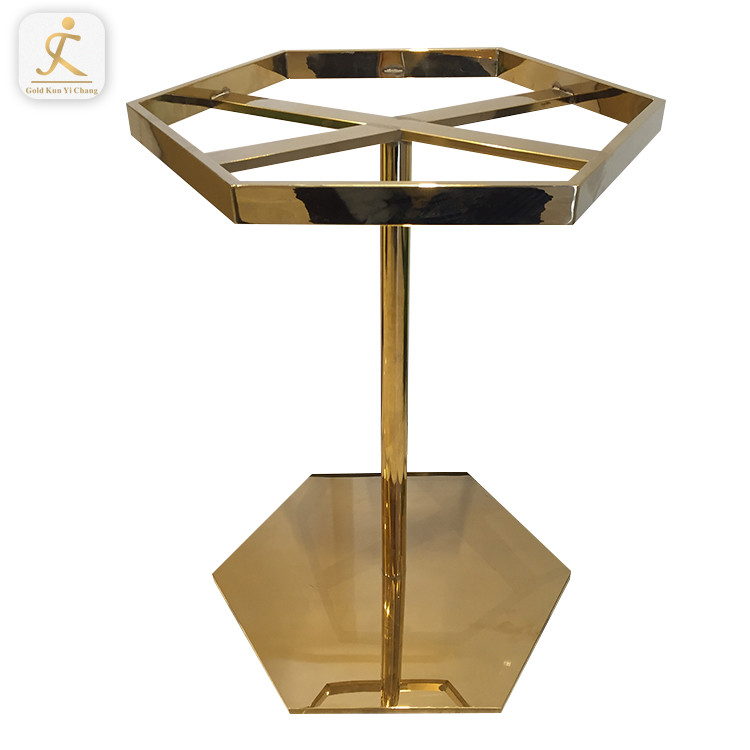 stainless steel furniture frame golss gold stainless steel coating table base legs hexagon metal dining coffee table base
