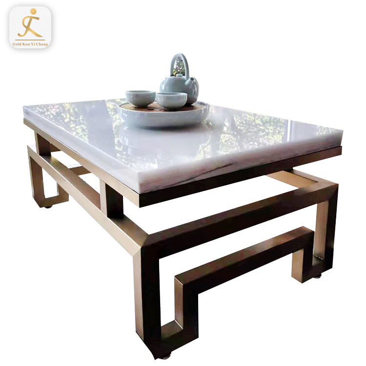 Gold Square Furniture Rectangle Modern Pedestal Table Base Metal Brushed Stainless Steel Shaped Glass Coffee Table Bases