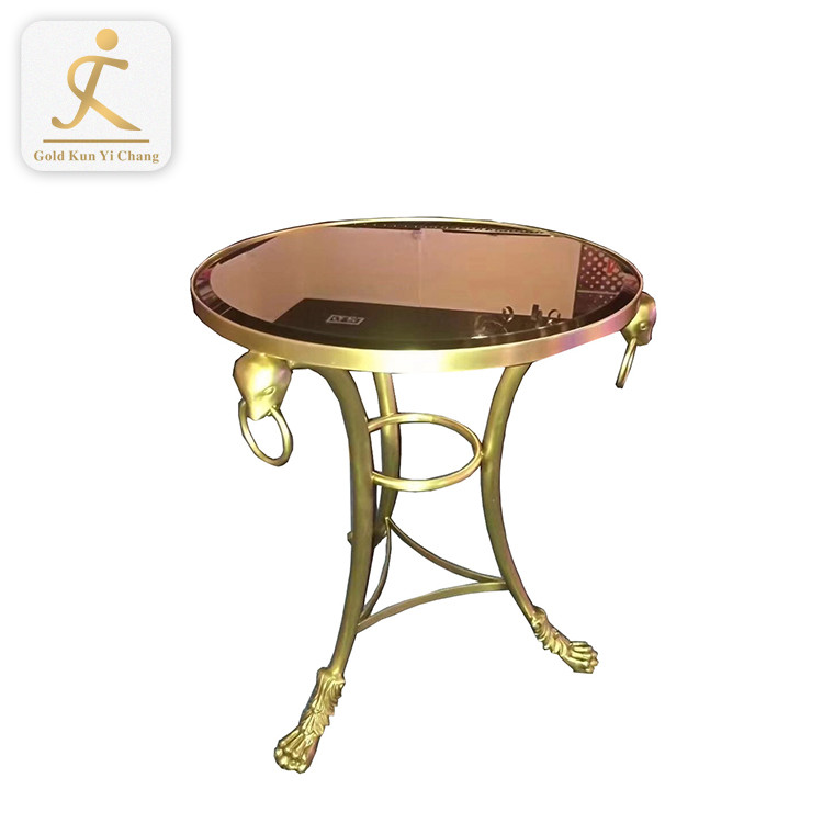 customized glass top coffee table curved stainless steel leg brushed gold tea coffee table metal leg