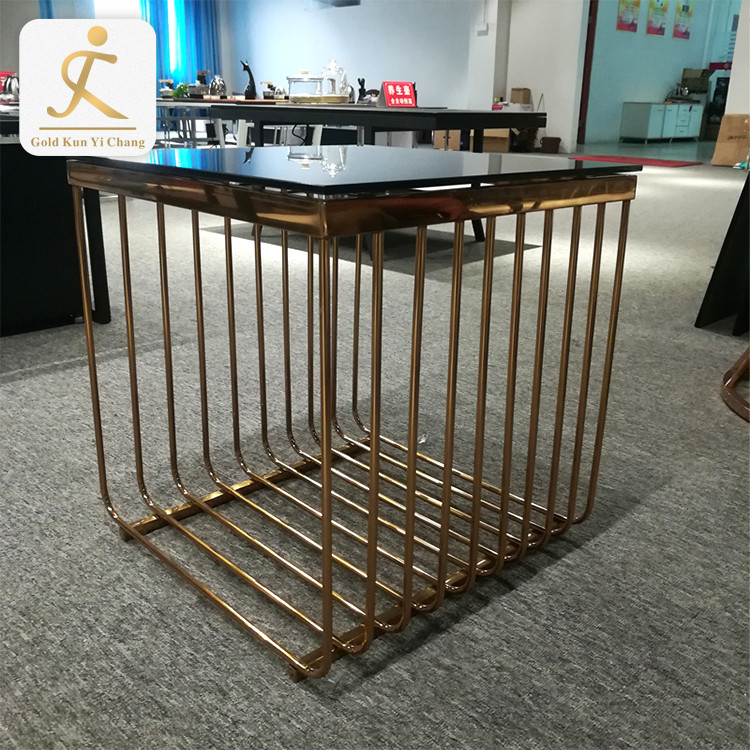304 square laser cut rose gold stainless steel table leg square decorative metal coffee table legs