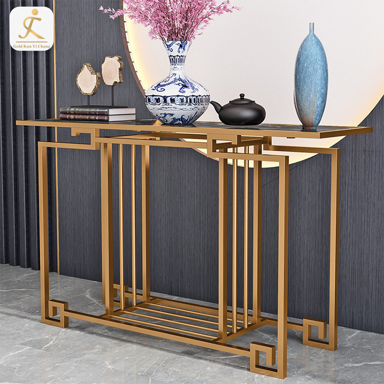 Stainless Steel Furniture Base Modern Rectangle Home Console Table Base Marble Top Hallway Console Table Leg Base