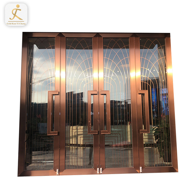 Latest Design Modern Stainless Steel Frame Swing Door Tempered Glass Double Open Big Hotel Main Entrance Door