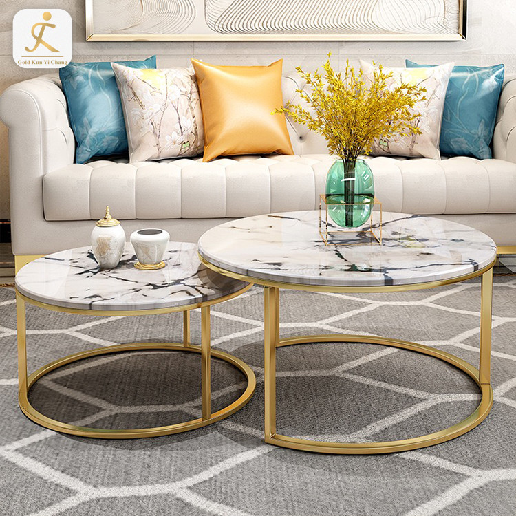 Custom Gold brushed modern stainless steel round coffee table for furniture metal table base legs steel table legs