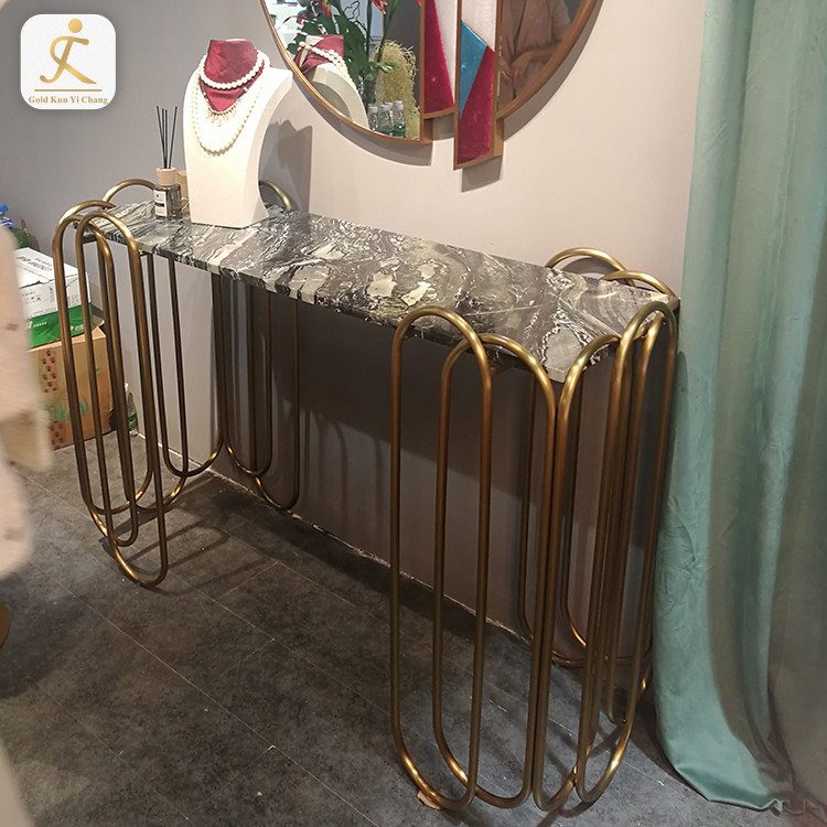Wholesale furniture part console table base tube pipe polished stainless steel hallway table leg