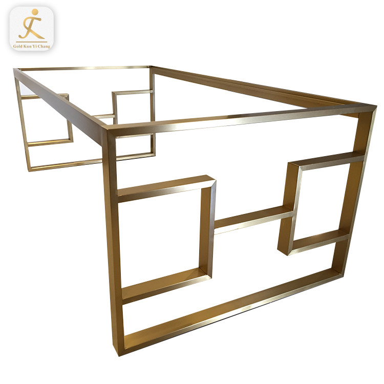Special design modern brush stainless steel furniture gold table leg metal base for dining table golden inox metal table based