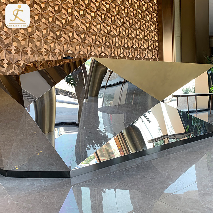 modern high glossy silver metal unique reception desk table front counter customized stainless steel company reception desk