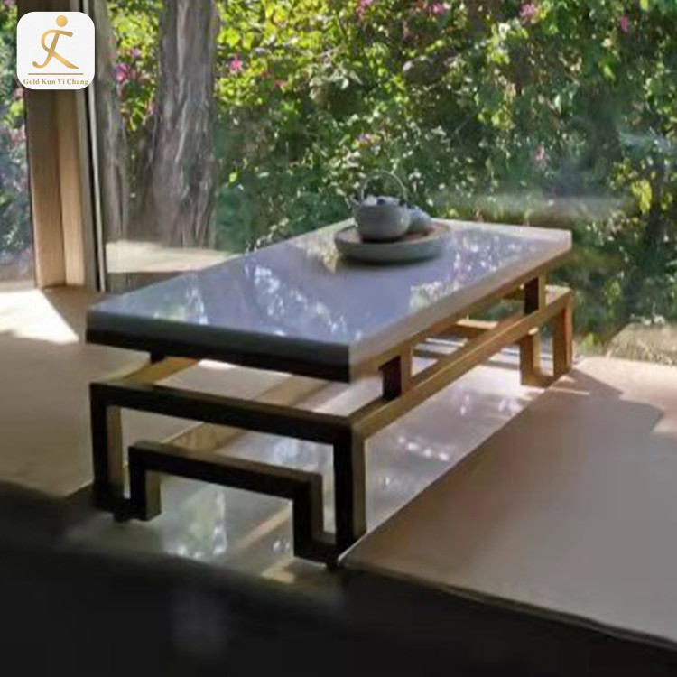 Rectangle marble top coffee table with gold stainless steel frame gold inox metal legs for coffee table base