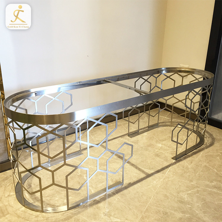 New design silver metal table legs furniture table base stainless steel dining table base custom