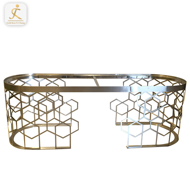 customized Modern new design silver brushed metal furniture table frame stainless steel dining table base