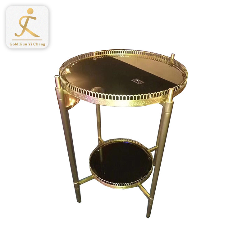 industrial stainless steel table base gold metal leg for furniture indoor brass color round stainless steel corner table base