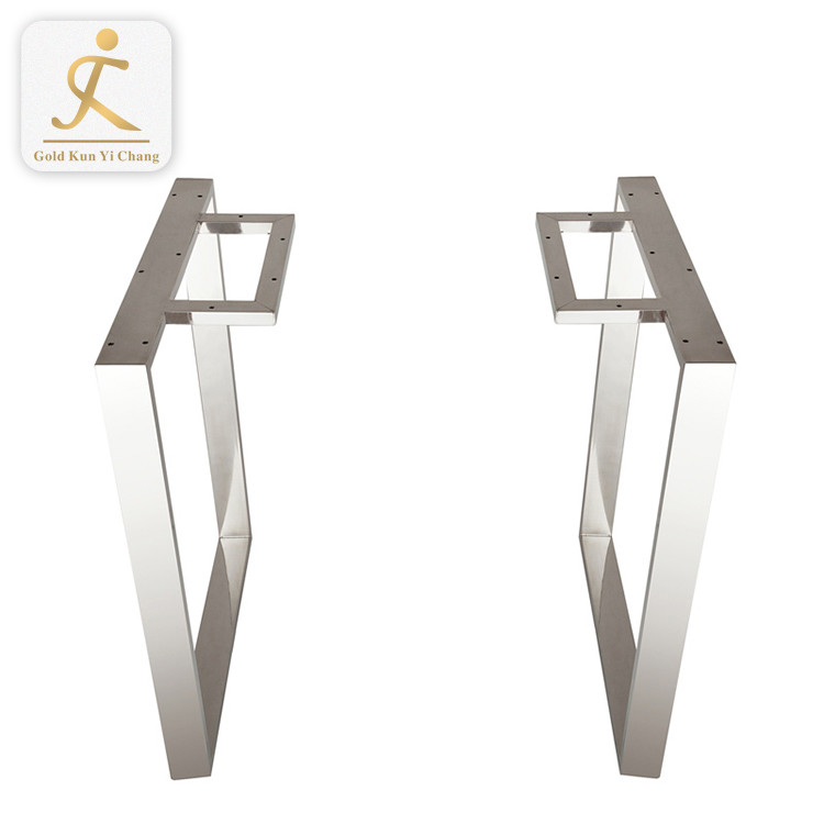 square shape stainless steel metal dining table legs base for table customized removable stainless steel furniture table legs