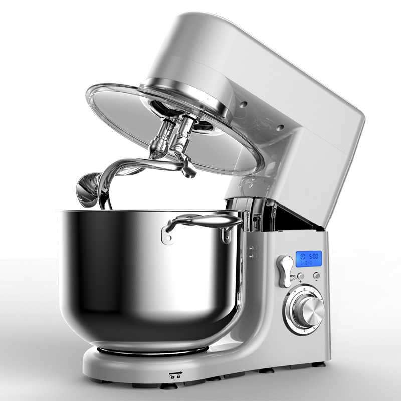 Table top stand mixer with double dough hooks