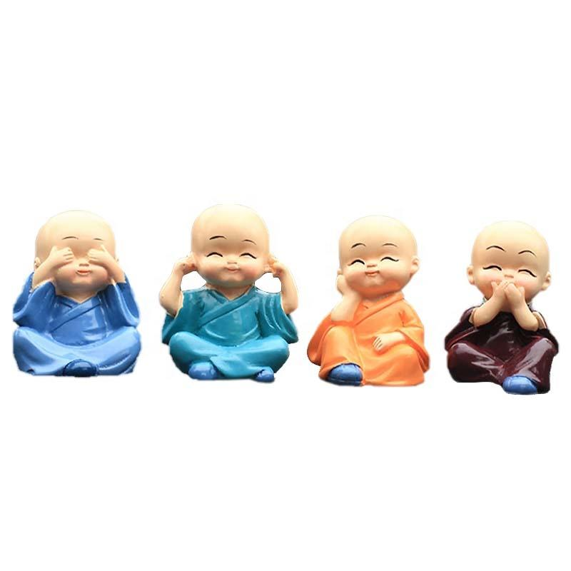 4 Pcs/Set Resin Little Monk Statue Shaolin Kung Fu Uniform Doll For Zen Garden Mini Decoration