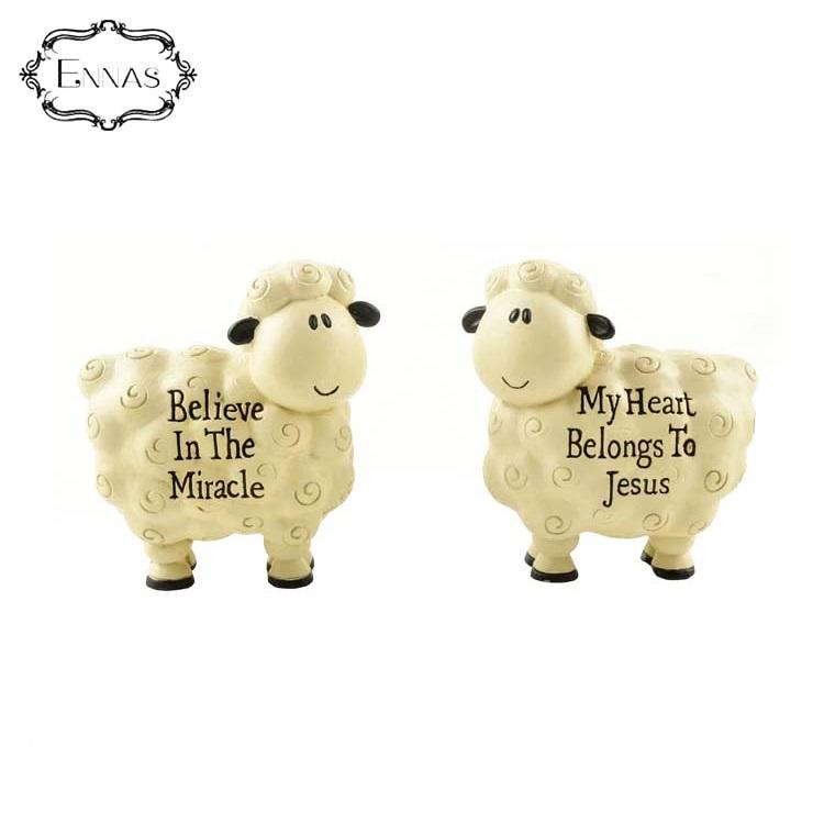 2pcs/set 'believe in the miracle' sheep statues creative decorations for animal crafts