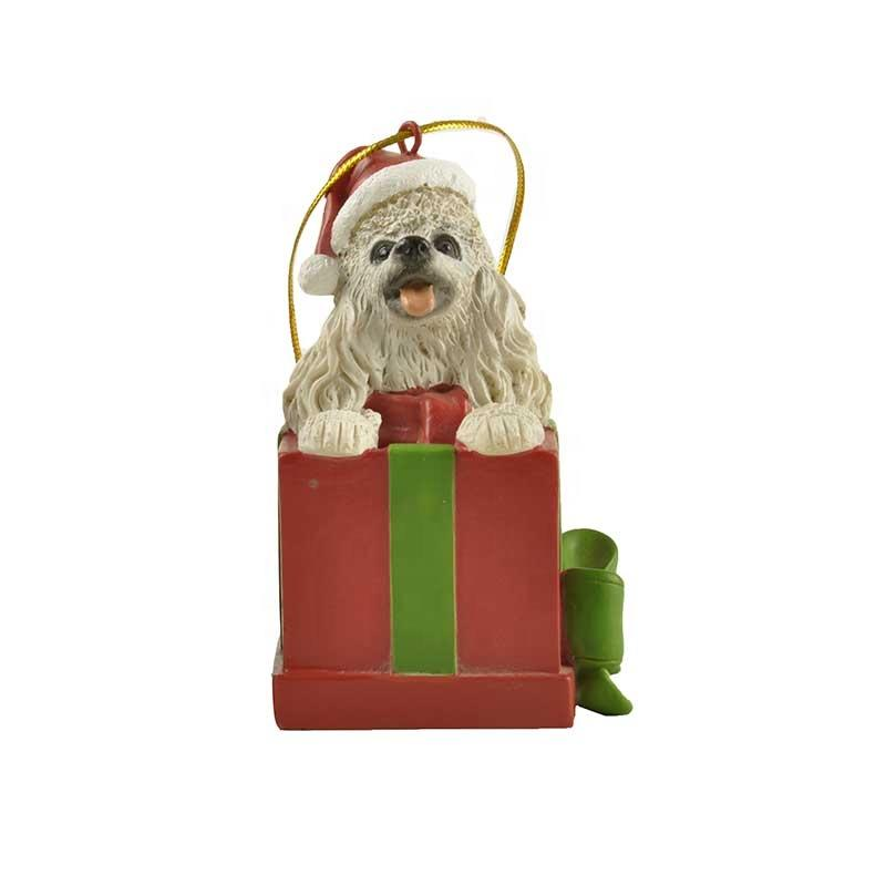 Wholesale white poodle Christmas home accessories in gift box decorations