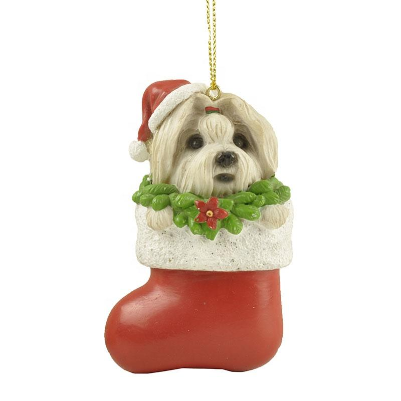 2020 New Design Small plush dog statue Christmas ornaments for home decorations