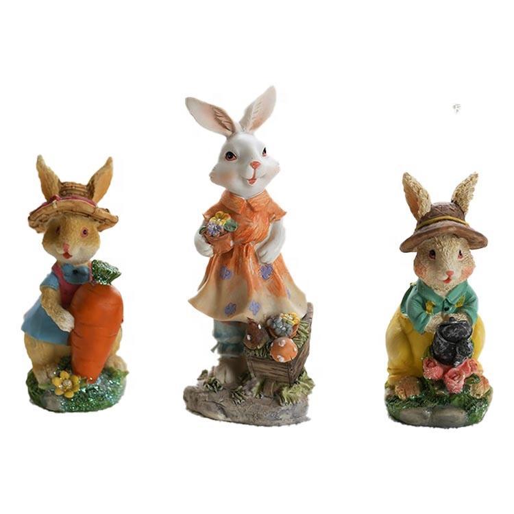 Wholesale Resin Crafts Home Decor Cartoon Animals bunnies of 3 Figurine design