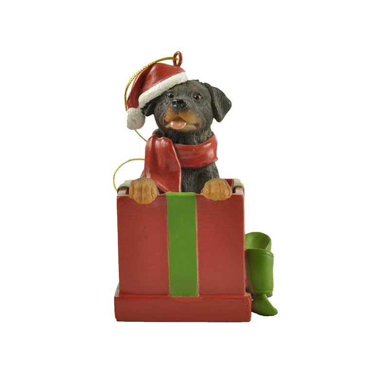 Rottweiler dog with bedroom ornaments in a gift box ornament