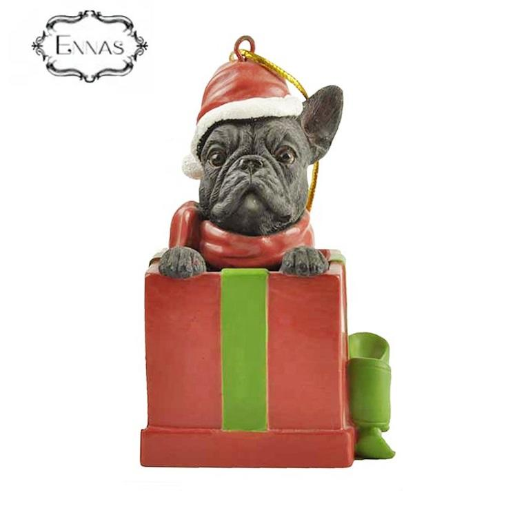 Chinese handmade French Bulldog holiday ornaments in gift box decorations