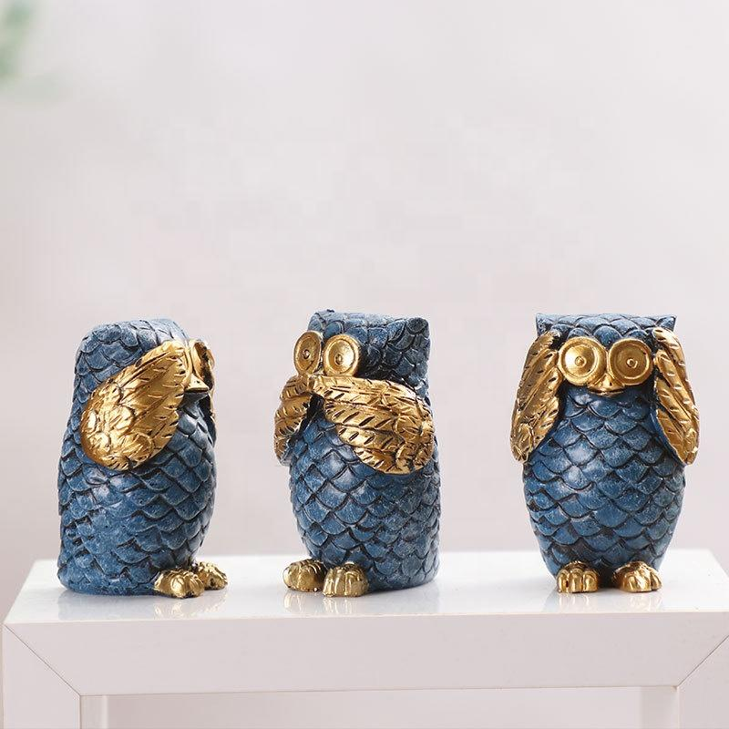 Resin Crafts Owl Statues For Decoration Rustica Hogar Gift European Owl Ornaments Home Decoration 3 Styles