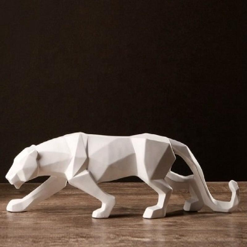 White Nordic Abstract Animal Figurine Leopard Decoration Resin Crafts Statue For Home Bedroom Office