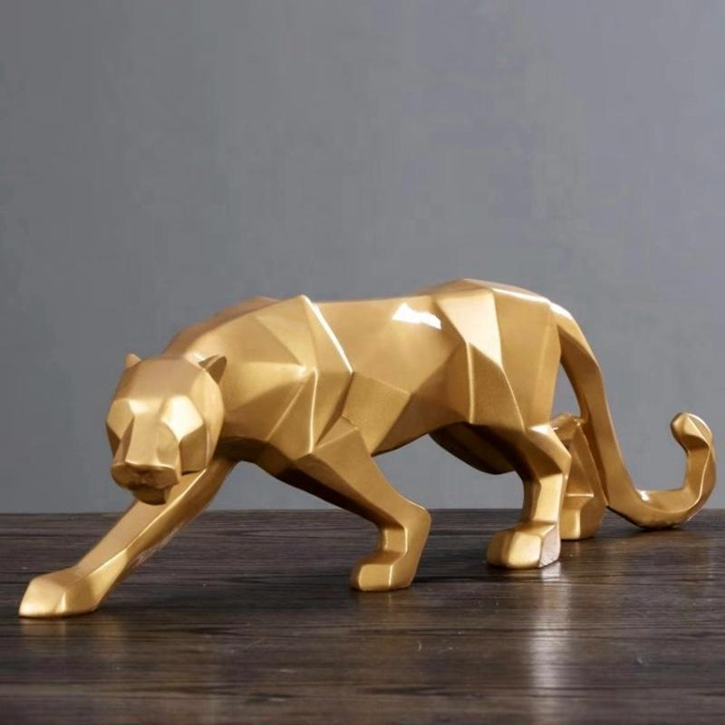 Gold Resin Crafts Nordic Abstract Animal Figurine Leopard Statue Decoration For Home Bedroom Office