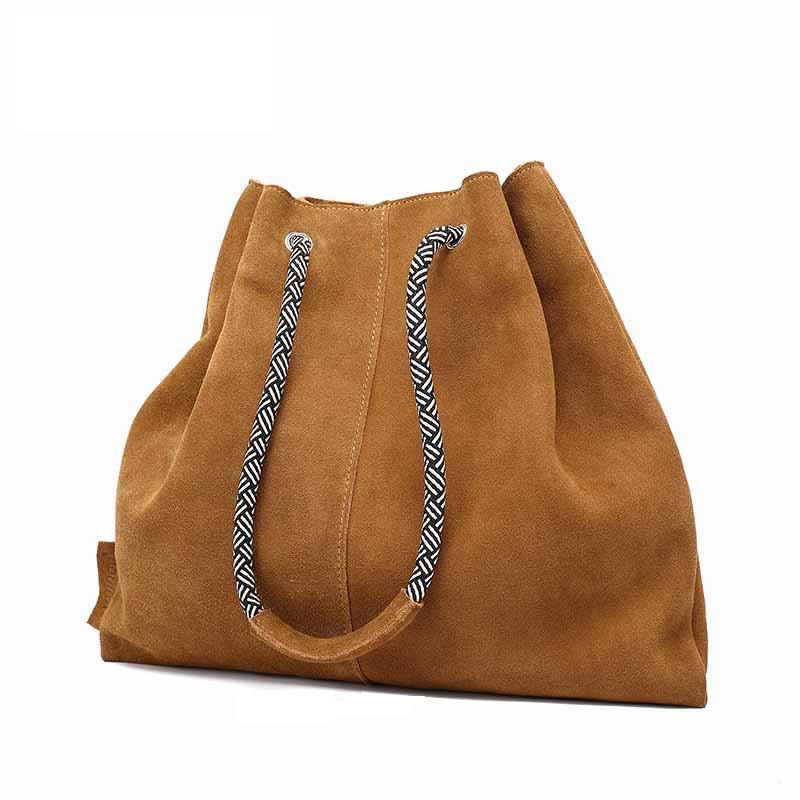 Women Vintage Genuine Leather BagSoft Cowhide Shoulder Tassels Bag