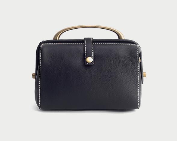 Vintage Women Classic Doctor Bag Genuine Leather Handbags Tote Luxury Shoulder Bag