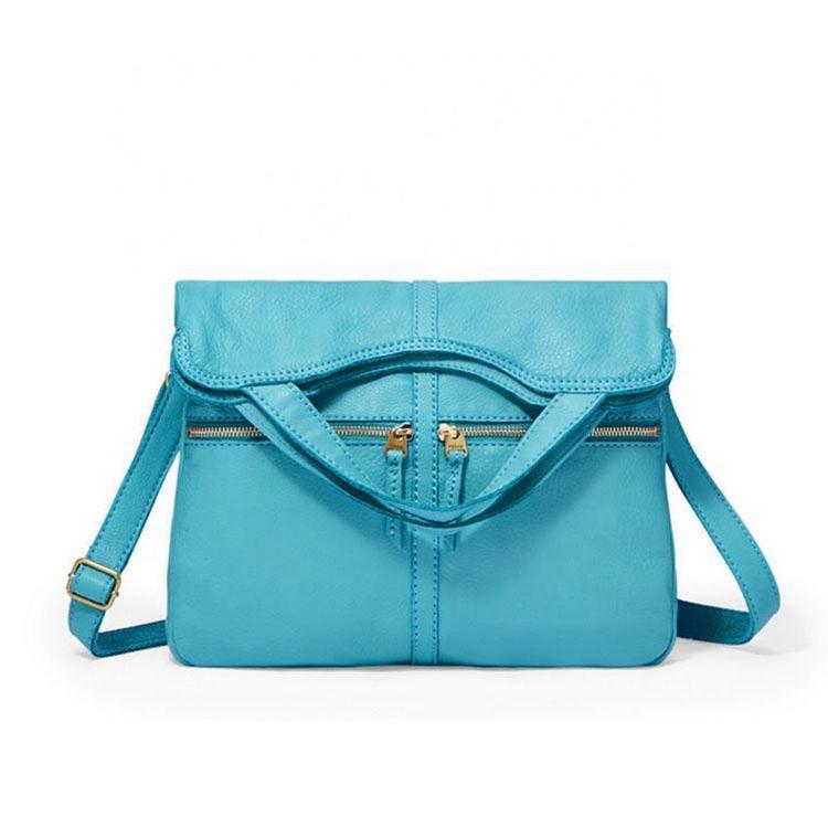 China wholesale Genuine Leather bule shoulder bag for ladies